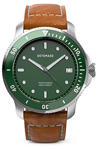 DETOMASO SAN REMO Diver Silver Green Herren-Armbanduhr Analog Quarz Lederarmband Braun