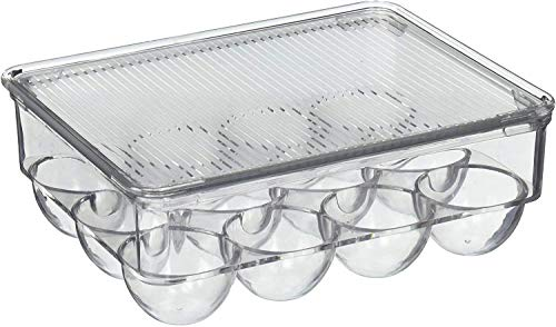 GADE Acrylic Egg Storage Box with lid for Refrigerator Safe (Transparent) (12 Eggs)