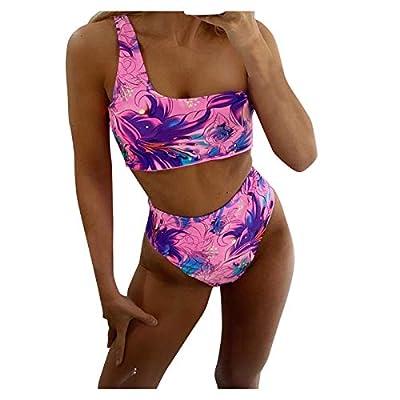 Women High Waisted Swimsuit High Cut Bikini 2 Piece Cutout Bathing Suit Sport Crop Top Swimwear (Pink 1, M)
