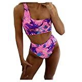 YANFANG Traje de baño de un Solo Hombro con Estampado Colorido de Bikini Dividido de Moda Sexy para Mujer Natacion Bañador una Pieza Playa Traje de Baño