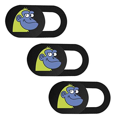SIREG Webcam Cover Slide 0,039 Zoll ultradünne Webkamera Abdeckung für Laptops Smartphone PC Tablets zum Schutz Ihrer Privatsphäre (Orang-Utan-Schwarz und 3 Stück)
