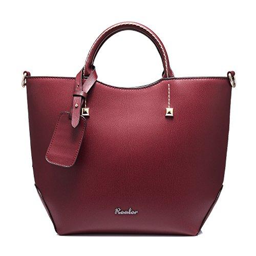Realer Grandi frizione borse e borsette per le donne con lunghe cinghie vino rosso