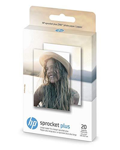 HP Papel fotográfico exclusivo para impresora fotográfica instantánea HP Sprocket Plus, (2.3' x 3.4'), 20 hojas con reverso adhesivo (2FR23A) (edición limitada)