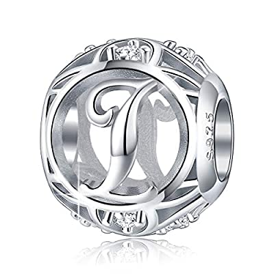 FOREVER QUEEN Letter Charm Initial A-Z Alphabet Charm Dangle Charm for Bracelet Necklace, 925 Sterling Silver CZ Beads Charm Personalized Jewelry Gift for Men Women Girls Birthday Valentine's Day (I)