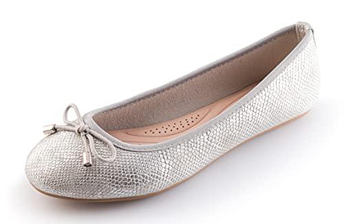 Bailarinas Mujer Zapatos Ballet Flats con Punto Cerrada (Plateado, Numeric_38)