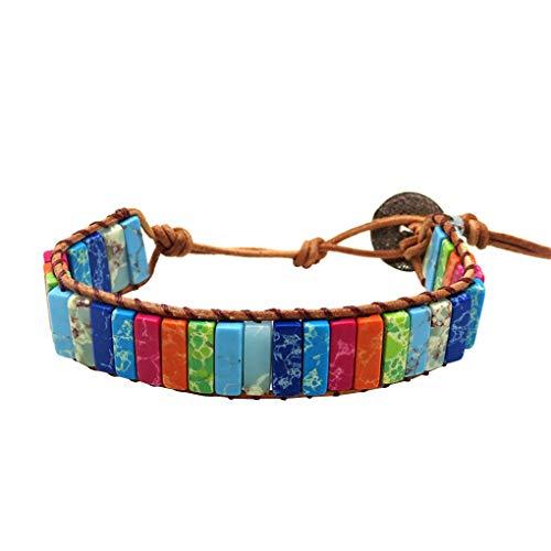 zhibeisai Boho Wrap Bead Bracelets Weaving Bracelet Women Leather Wrap Rectangle Stone Beads Braided Wristband Bangle Wrist Jewelry