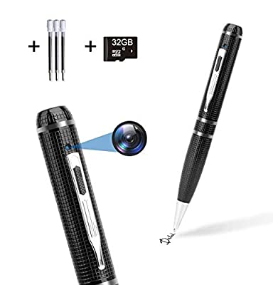 Hidden Camera Pen 32GB,FUVISION Full HD 1080P Spy Pen Camera Camcorder with Photo Taking,2 Hours Battery Pen Camera,Portable Digital Recorder with 3 Ink Refills Pocket DVR for Business and Conference