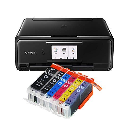 Canon Pixma TS8150 TS-8150 All-in-One Farbtintenstrahl-Multifunktionsgerät (Drucker, Scanner, Kopierer, CD-Druck, USB, WLAN, LAN, Apple AirPrint, SD-Karte) Schwarz + 6er Set IC-Office 580XXL 581XXL