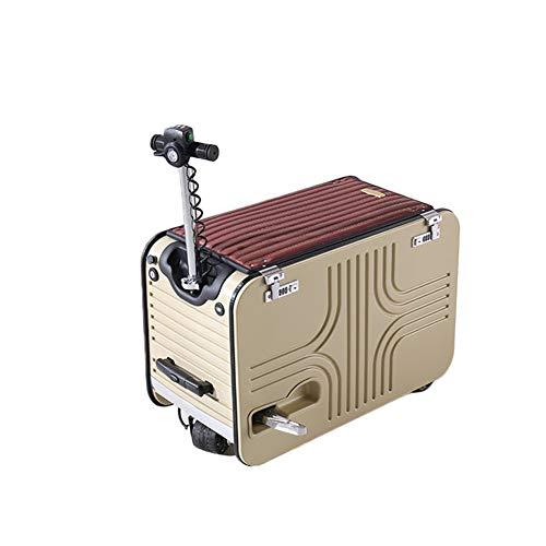DXFK.AM Scooter Eléctrico de Maleta, Tripulado Portátil Viaje Llevar Equipaje para Viajar Caja de Almacenamiento Batería Desmontable,Oro,28