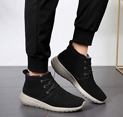 Alle Wolle Herren High-Top-Schuhe, Schneeschuhe, Herren Warm, Plus Velvet Thick Wool Cotton Schuhe, Winter Herrenstiefel,Schwarz,44