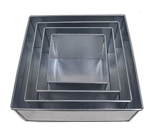 Set of 4-piece square cake baking pans by Euro Tins 6, 8, 10 & 12 Inch (4' Deep)