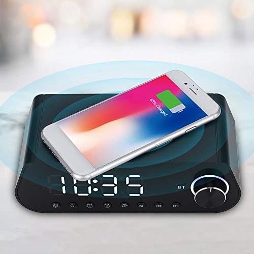 FOLOSAFENAR Altavoz rápido inalámbrico de BT de la exhibición del Tiempo del LED del Altavoz del Cargador del Cable USB para el iPhone(Black)