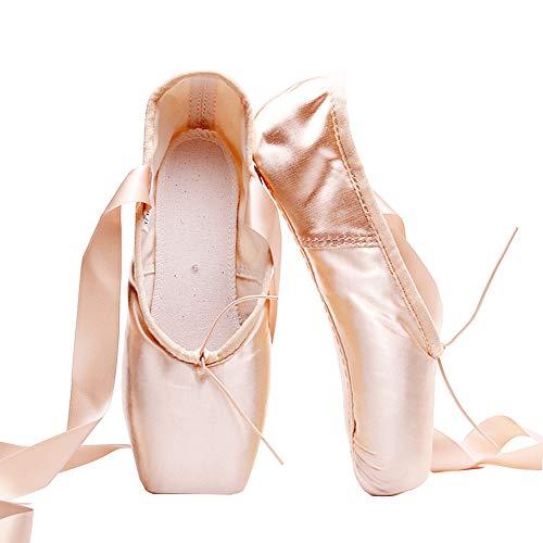 Mujeres y Niñas Zapatos de Punta Satén Zapatillas de Ballet con Puntera de Gel de Silicona y Cintas