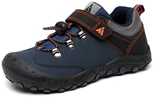 Mishansha Trekkingschuhe Kinder Wanderschuhe Jungen Klettverschluss Outdoor Sportschuhe Mädchen Atmungsaktive Sneaker rutschfest Freizeitschuhe Leicht Blau, 32 EU