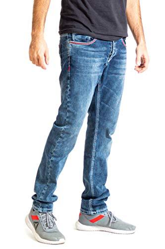 Megastyl Neu Amica Herren Männer Jeans Basic Streetwear Dicke Nähte Regular Fit mit roten Ziernähten (38W/34L)