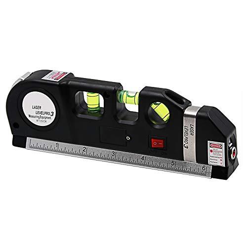 Mehrzweck-Laser-Wasserwaage, Maßband, Blasen- und Laser-Wasserwaage