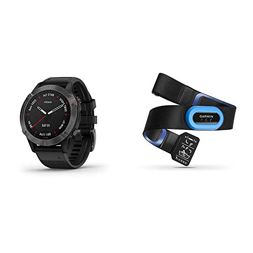 Garmin Fenix 6 Sapphire, Premium Multisport GPS Watch, Features Mapping, Music, Grade-Adjusted Pace Guidance and Pulse Ox Sensors, Dark Gray with Black Band & HRM-Tri Heart Rate Monitor