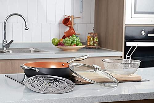 MICHELANGELO Woks antiadherentes de 28 cm y sartenes con tapa, cesta de freír y estante de vapor, sartén antiadherente de cobre con tapa, wok de cerámica con tapa, wok de cerámica