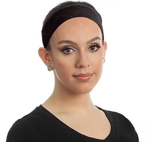 Premium Wig Grip Headband, Bundle with Free Comb - Adjustable Comfort Head Hair Band for Women - Velvet Material - Velcro Closure - Non Slip, Keeps Wig Secured - Prevents Headaches & Hair Loss (Brown)