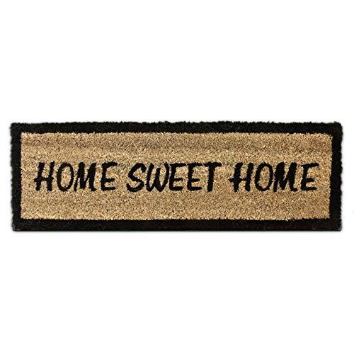 Relaxdays Home Sweet Home – Felpudo para la Entrada de su hogar Hecho de Fibras de Coco y PVC con Medidas 75 x 25 cm Antideslizante Elemento Decorativo, Color marrón