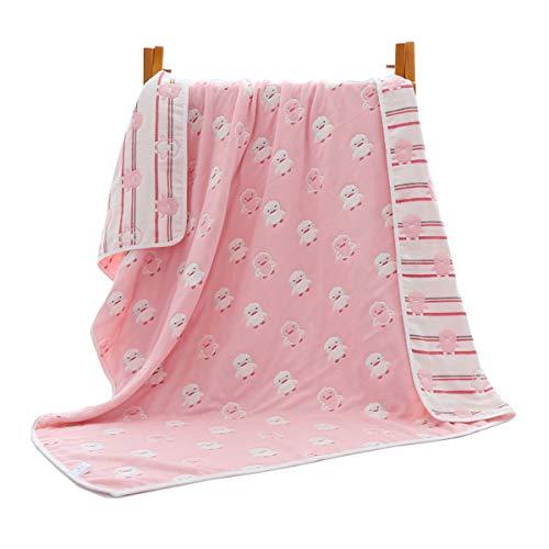 JUEJIDP Luvable Friends - Paquete de Mantas de Recepción de Franela De Algodón Unisex para Bebés, 6 Capas Ligera Térmica Transpirable Cálida para Niños Pequeños,Pink Chick,M