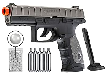 Wearable4U Beretta APX CO2 Airsoft BB Pistol Airsoft Gun with Included Spare 15rd Mag and CO2 12 Gram  5 Pack  Pack of 1000ct BBS Bundle  Black/Grey