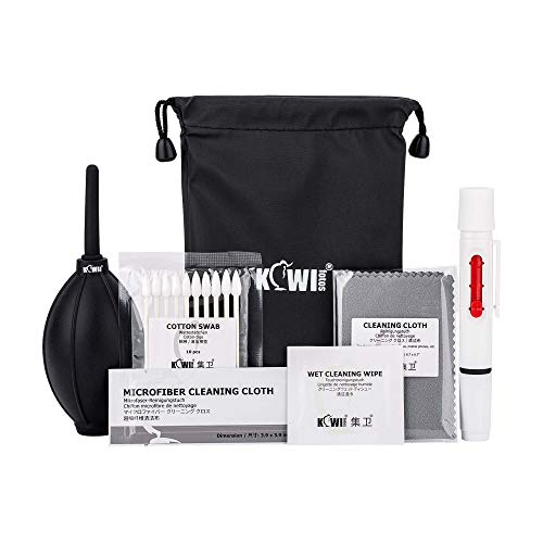 Kit de limpieza de cámara profesional 18 en 1, accesorios de limpieza de cámara DSLR en bolsa de almacenamiento, soplador de aire de polvo/pluma de limpieza de lente/paño de limpieza de microfibra