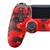 Ambllers with Light Bar 4th Generation PS4 Controller Wireless Bluetooth Artifact PS4 Game Handle 1 Pack Red Camo (Universal Key)