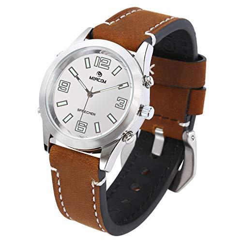 MEACOM Sprechende Armbanduhr, Deutsch Zeitansage Uhr mit Edelstahl Zifferblatt Lederband Blindeuhr Sprachfunktion für Alter/Blinde/Optisch Beeinträchtigte (Braun)