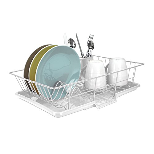 Home Basics DD30234 3-Piece Dish Drainer Set, White