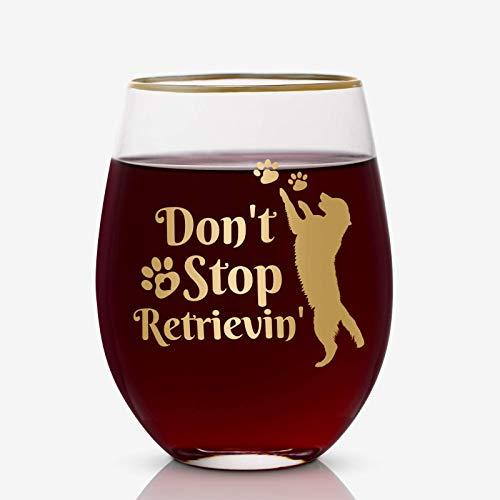 Onebttl Bicchiere da Vino Grande 12 oz Golden Retriever Grande Idea per Compleanno Anniversario Regalo per Lui Lei Amici Marito Moglie papà Mamma Amanti dei Cani –Don't Stop Retrievin'
