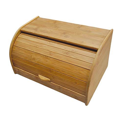 Point-Virgule Brotkasten Holz, Brotdose Bambus mit Deckel, Vorratsdosen zum Aufbewahren Brot, Kartoffel oder Zwiebel, groß, 36x19x13 cm, Braun