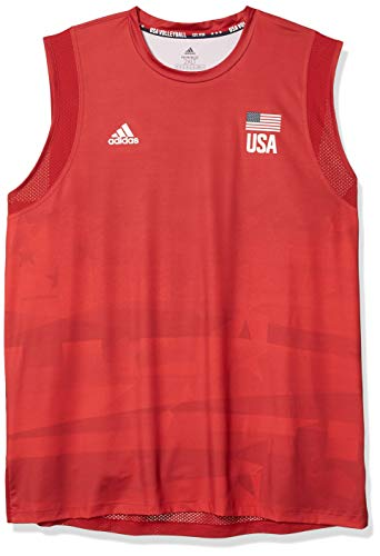 adidas Mens USA Volleyball Jersey Primeblue Team Power Red/Vivid Red XL