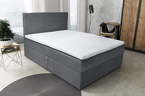 Best For Home Boxspringbett S Deluxe mit 7 Zonen Größen (140x200, Grau)
