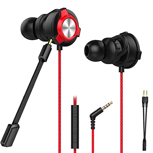 (Renewed) CLAW G9X Single Driver Gaming Earphones with Adjustable Boom & in-line Mic, Volume Control, Mute Switch & 3D Stereo Sound for iPhone & Android Phones, Tablets, PC, Laptop, PS4, PS5, Xbox (Red)