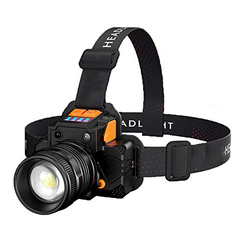 C H Rechargeable Sensor Headlamp Flashlight,Best And Brightest Broadbeam Spotlight Headlight- Zoomable Camping Light for Running Camping Cycling Fishing Outdoor