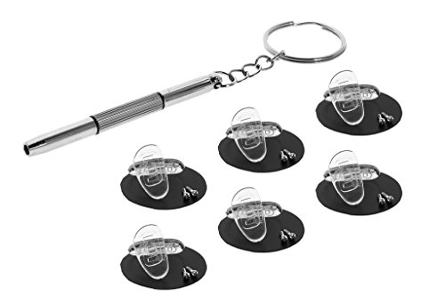 Eyekepper 6 Pairs 15mm D-Shaped Screw-in Soft Silicone Glasses Nose Pads / 1pc Mini 3 in 1 Stainless Steel Screwdriver