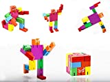 TKmom Life is Good Brain Teaser, Wooden Robot Transformer Toy, Multi-Color Twister Cube Robot