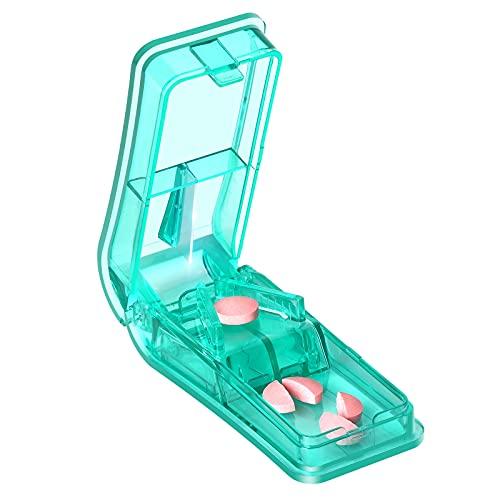 Tablettenteiler für Große und Kleine Tabletten, Baoweihua Tablettenschneider mit Ablagefach Grün