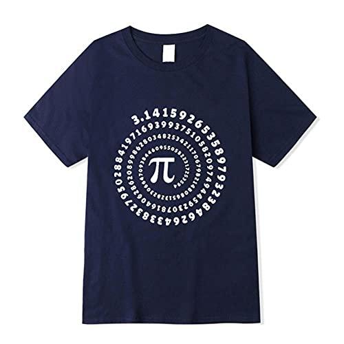 FHKGCD Camiseta para Hombre Top De Algodón con Estampado De Geometría Matemática Camiseta Suelta con Cuello En O, Azul Marino, M