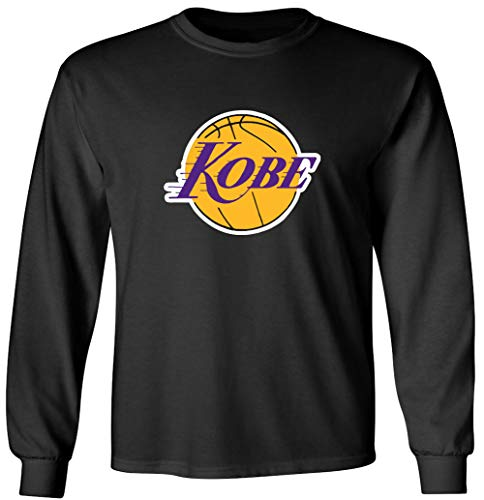 Shedd Shirts Long Sleeve Black Los Angeles Kobe Logo T-Shirt Adult