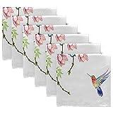 Funnyy Frühling Schmetterling Blume Vögel Stoffservietten waschbar Abendessen Servietten übergroß weich wiederverwendbar Satin Tische Servietten mehrfarbig - 5