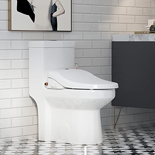 HOROW HWMT-8733 Smart Small Toilet With Luxury Electronic Bidet Toilet Seat, Unlimited Warm Water, Air Dryer, Heated Seat, Ambient Nightlight, Integrated Multi-Function Remote Control