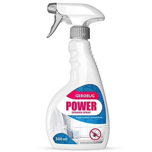 Gerobug® Power Spinnenspray 500 ml zur Spinnen Bekämpfung + Effektives Anti Spinnen Mittel mit Sofort- u. Langzeitwirkung + Spinnenspray gegen Spinnen im Haus