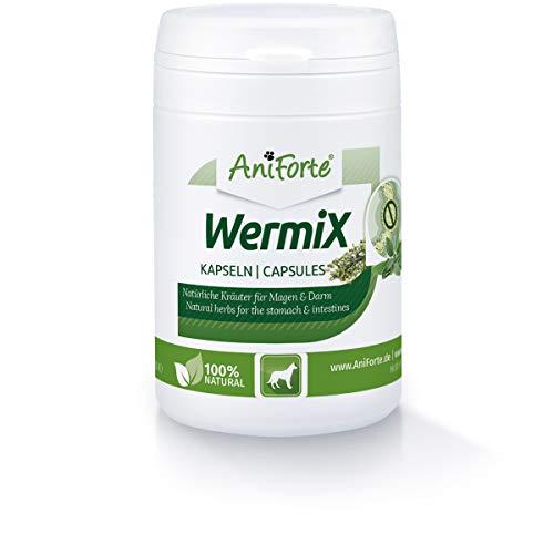 AniForte WermiX für Hunde 50 Kapseln - Wurm Tabletten Naturprodukt vor, während und nach Wurmbefall & Wurmkur, mit Salbei, Walnuss, Petersilie, Wermut, Naturkräuter harmonisieren Magen & Darm