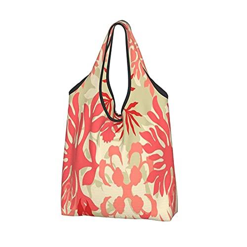 MSINCUDJ Bolsos de la compra para las mujeres Bolsos de hombro plegables reutilizables Bolsos de la compra-Edredón abstracto hawaiano Floral Coral vivo