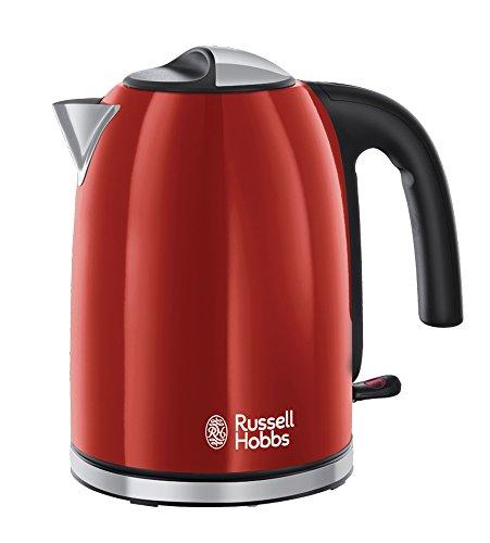 Russell Hobbs Wasserkocher Colours+ rot, 1,7l, 2400W, Schnellkochfunktion, optimierte Ausgusstülle, herausnehmbarer Kalkfilter, Wasserstandsanzeige mit Füllmengenmarkierung, Teekocher 20412-70
