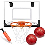 Upgrade Over The Door Basketball Hoop Wall Mount Set Backboard Pad Metal Rim Goal (8') Hanging Wall Board With 6' Rubber Basketballs Sports Game For Kids Adults Outdoor Indoor Office Home(15.8'x11.7')