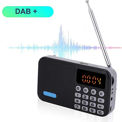 Topiky Radio Digital Dab, Radio portátil Dab + FM Receptor Bluetooth Reproductor de MP3 estéreo de Bolsillo Radio con batería