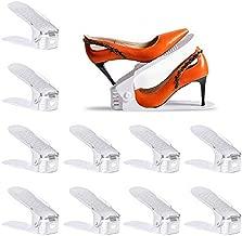 Yashong Shoe Slots Organizer, 10PCS Adjustable Double Layer Stack Shoe Rack, No Assembly Required, 50% Space-Saving Storage Rack Holder, White